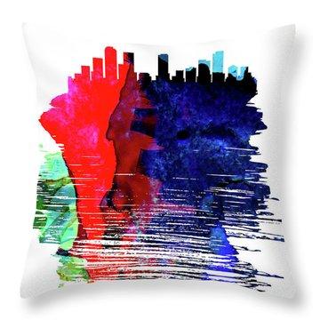 Denver Skyline Brush Stroke Watercolor   Throw Pillow