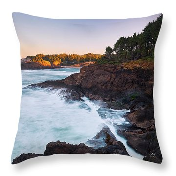 Throw Pillow featuring the photograph Depoe Bay Sunrise by Whitney Goodey