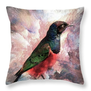 Desaturated Starling Throw Pillow
