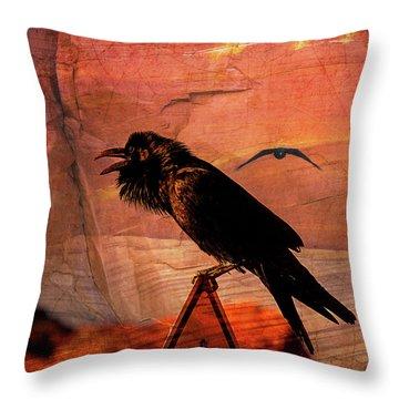 Desert Raven Throw Pillow
