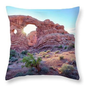 Desert Sunset Arches National Park Throw Pillow