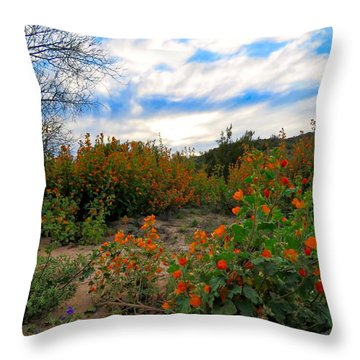Desert Wildflowers In The Valley Throw Pillow