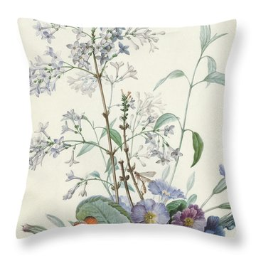 Detail Of A Bouquet Of Flowers With Insects Throw Pillow