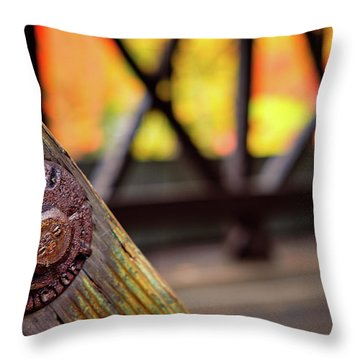 Details On A Covered Bridge Throw Pillow