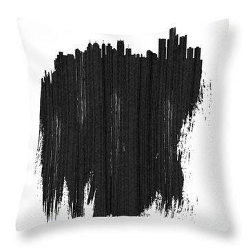 Detroit Skyline Brush Stroke Black Throw Pillow