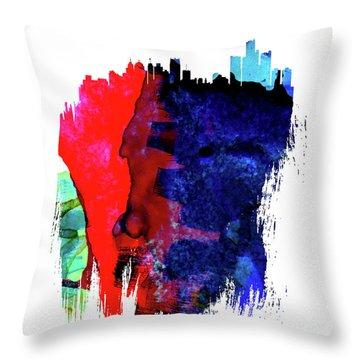 Detroit Skyline Brush Stroke Watercolor   Throw Pillow