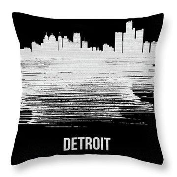 Detroit Skyline Brush Stroke White Throw Pillow