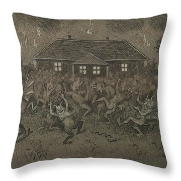 Throw Pillow featuring the drawing Devil Hymn by Ivar Arosenius