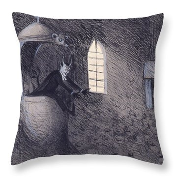 Throw Pillow featuring the drawing Devil  by Ivar Arosenius