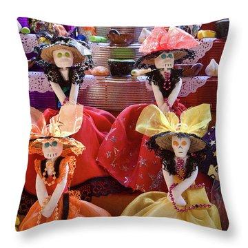 Throw Pillow featuring the photograph Dia De Los Muertos Candy Catrinas by Tatiana Travelways