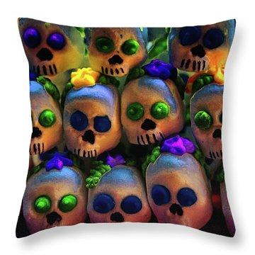 Throw Pillow featuring the photograph Dia De Los Muertos Candy Skulls 2 by Tatiana Travelways