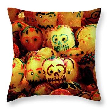 Throw Pillow featuring the photograph Dia De Los Muertos Candy Skulls by Tatiana Travelways