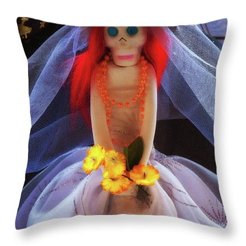 Throw Pillow featuring the photograph Dia De Los Muertos Spooky Candy Catrina by Tatiana Travelways