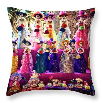 Throw Pillow featuring the photograph Dia De Los Muertos Spooky Candy Catrinas by Tatiana Travelways