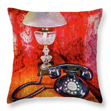 Throw Pillow featuring the painting Dial Up Telephone by Joan Reese