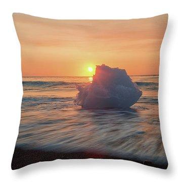 Diamond Beach Sunrise Iceland Throw Pillow