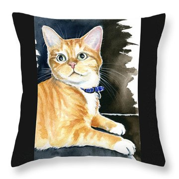 Diego Ginger Tabby Cat Painting Throw Pillow