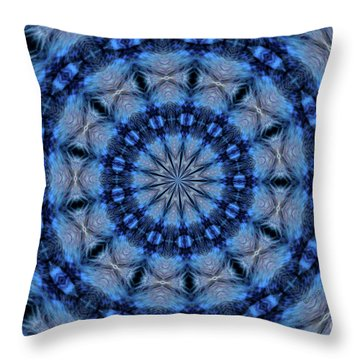 Throw Pillow featuring the photograph Blue Jay Mandala by Debbie Stahre