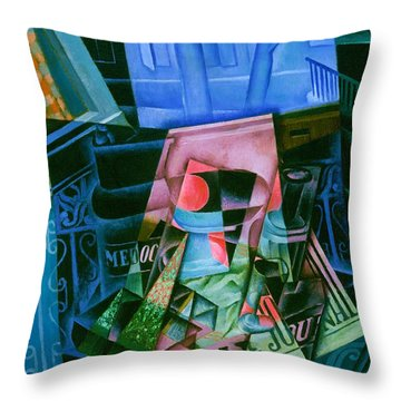 Digital Remastered Edition - Still Life Of Newspaper - Still Life In Front Of Open Window Throw Pillow