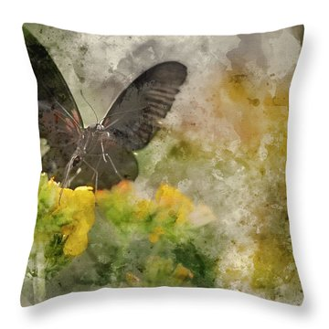 Digital Watercolor Painting Of Stunning Scarlet Swallowtail Butt Throw Pillow