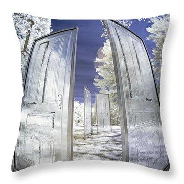 Dimensional Doors Throw Pillow