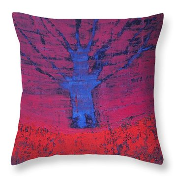Disappearing Tree Original Painting Throw Pillow