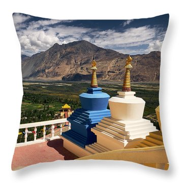 Throw Pillow featuring the photograph Diskit Gompa by Whitney Goodey