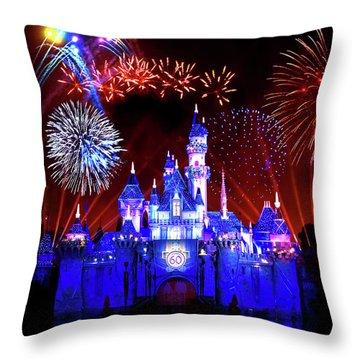 Disneyland 60th Anniversary Fireworks Throw Pillow