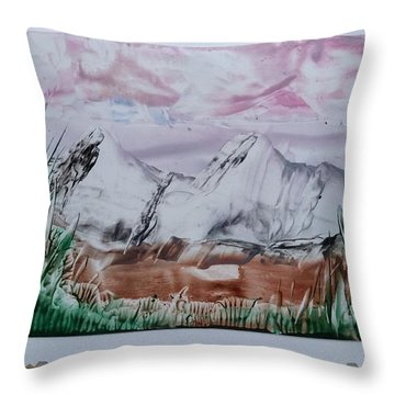 Distant Impressionistic Mountains Throw Pillow