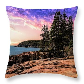 Distant View Of Otter Cliffs,acadia National Park,maine. Throw Pillow