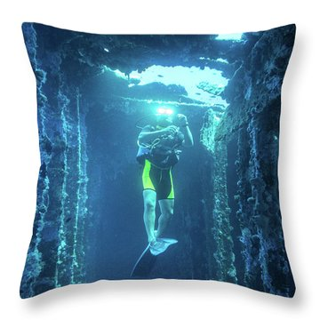 Diver In The Patris Shipwreck Throw Pillow