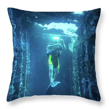 Diver In The  Throw Pillow