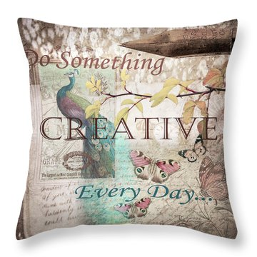 Do Something Creative Every Day Vintage Art Throw Pillow