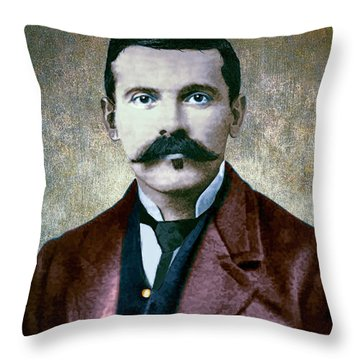 Doc Holliday Painterly Throw Pillow