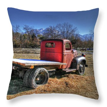 Dodge Flat Bed Truck On Farm Throw Pillow