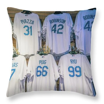 Throw Pillow featuring the photograph Dodgers Wall Of Famers - Blue Vintage by Lynn Bauer