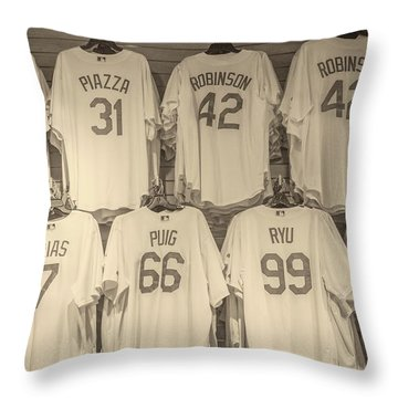 Throw Pillow featuring the photograph Dodgers Wall Of Famers - Retro Style by Lynn Bauer
