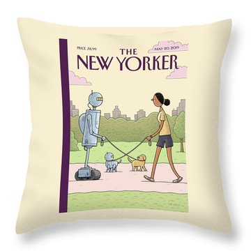 Dog Walking 2.0 Throw Pillow