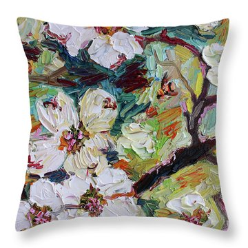 Dogwood Blossoms Oil Painting  Throw Pillow