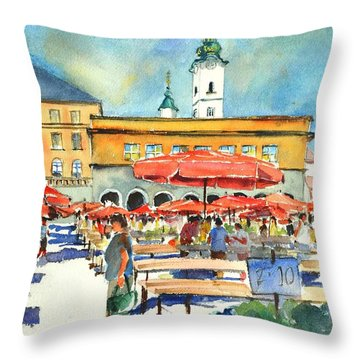 Dolce Market In Zagreb #1 Throw Pillow