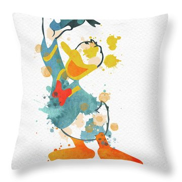 Donald Duck Watercolor Throw Pillow