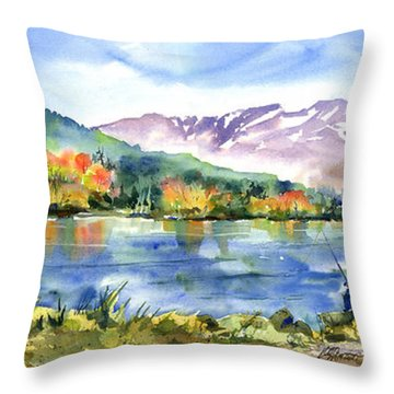 Donner Lake Fisherman Throw Pillow