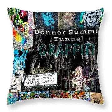Donner Summit Graffiti Throw Pillow