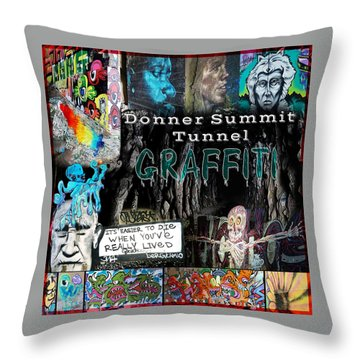 Donner Summit Graffiti Throw Pillow