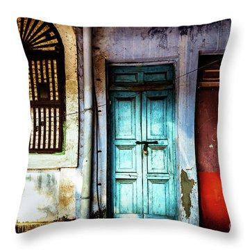Doors Of India - Blue Door And Red Door Throw Pillow