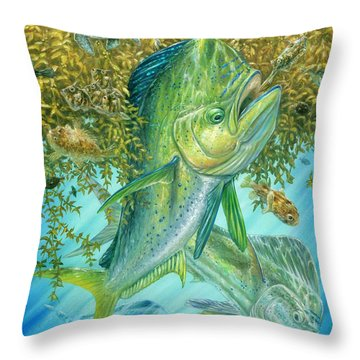Dorados Hunting In Sargassum Throw Pillow
