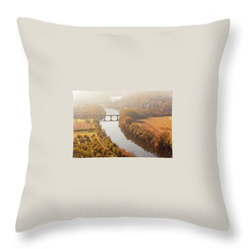 Dordogne River In The Mist Throw Pillow