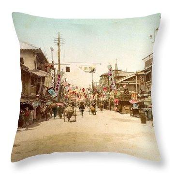Dotonbori Osaka Handcolored Japanese Albumen Print From A Tourists Album Of The Early 20th Century  Throw Pillow