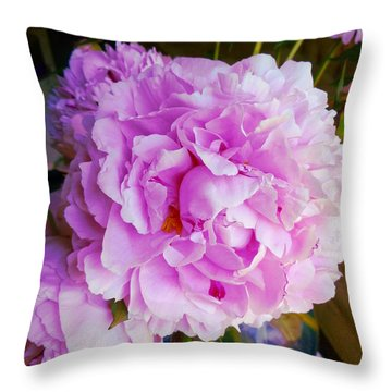 Double Peonies Throw Pillow