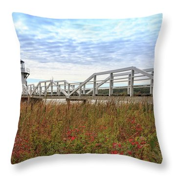 Doubling Point Lighthouse In Maine Throw Pillow